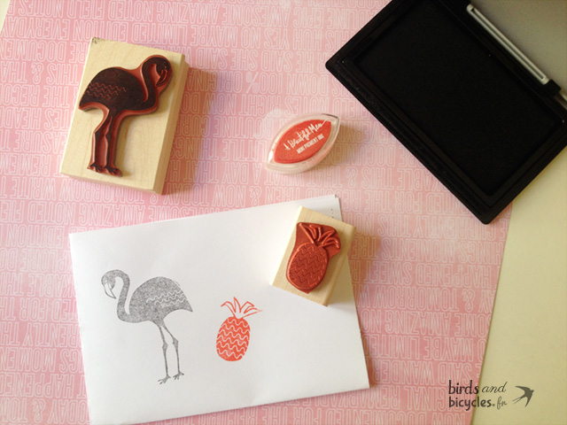 Stamp flamingo and Pineapple Yellow Owl Workshop