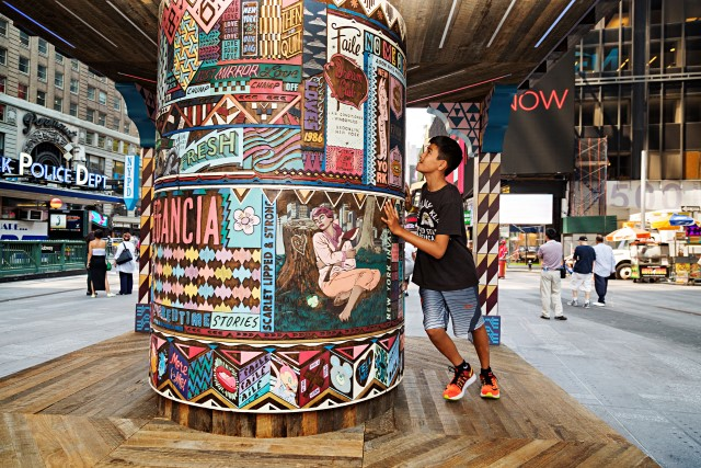 FAILE: Wishing on You August 17, 2015 - September 1, 2015 Brooklyn-based artist collaboration FAILE bring FAILE:Wishing on You, an installation reimagining Asian prayer wheels in the context of Times Square's kaleidoscopic history, to the Broadway plaza between 42nd and 43rd Streets. Artists Patrick McNeil and Patrick Miller are using this piece, their largest to date, to re-imagine Times Square - a sacred American landscape known both for bright lights and the gathering of many communities. In collaboration with Brooklyn Museum.