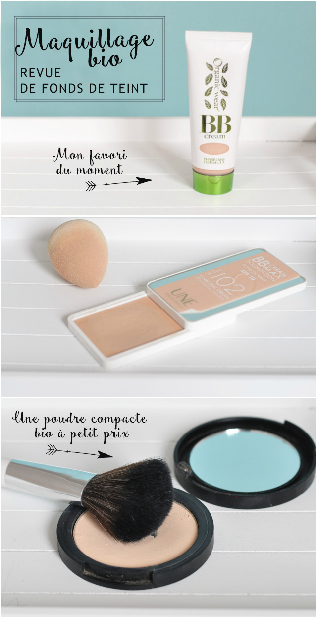 Maquillage naturel: avis & tests de fonds de teint bio {BB Cream de Physicians Formula et Une Beauty, Poudre compacte de PuroBio, etc}