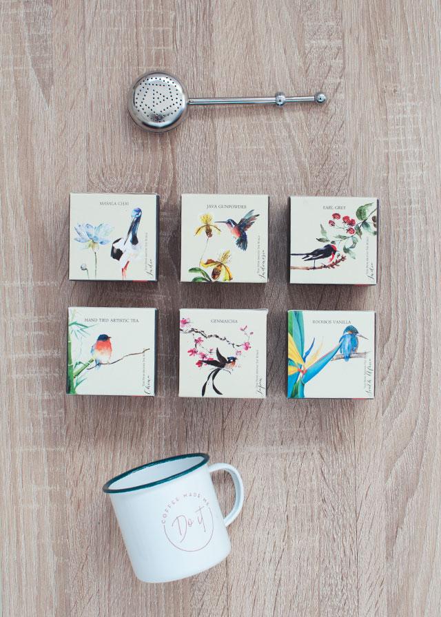 Thé et oiseaux - Un set de thés ornés d'oiseaux! Sur le blog lifestyle Birds & Bicycles