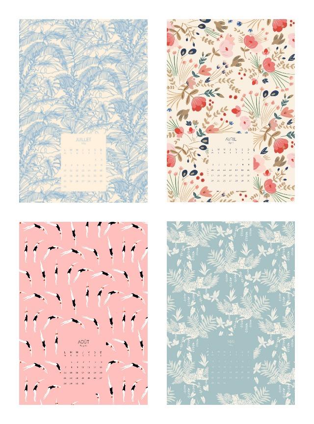 Joli calendrier 2017 Season Paper - Sélection féminine et girly - motifs vintage d'illustrateurs - Sélection de jolis calendriers 2017 sur le blog Birds & Bicycles, fan de papeterie!