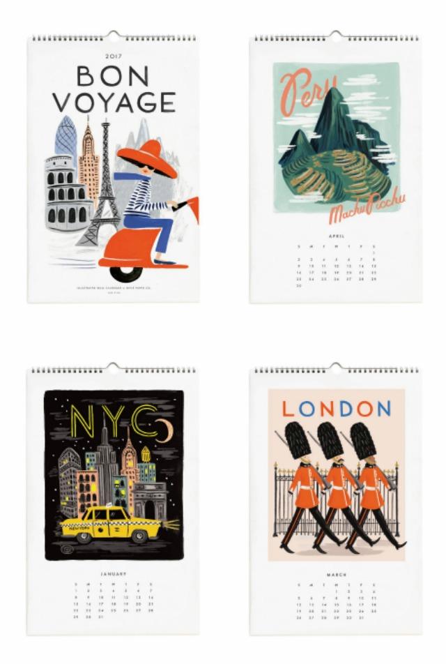 Calendrier 2017 Voyage Rifle Paper Co - Sélection de jolis calendriers sur le blog amoureux de papeterie Birds & Bicycles