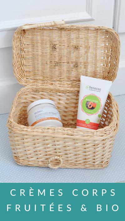 Crèmes pour le corps bio fruitées de Delidea et Benecos