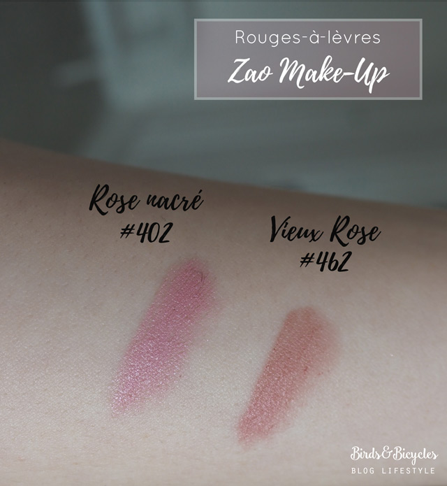 Swatch des rouges à lèvres de Zao Rose nacré 402 et Vieux Rose 462