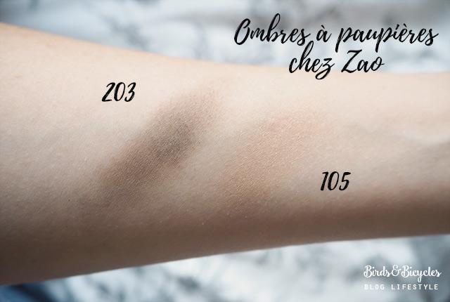 Maquillage bio: Avis & swatch sur deux ombres à paupières de Zao