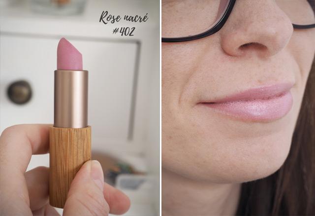 Rose nacré 402: avis et swatch des rouges à lèvres naturels de Zao Make Up