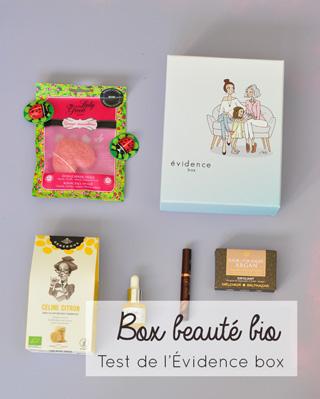 Test & avis de la box bio Evidence - Des cosmétiques et une gourmandise chaque mois dans une box