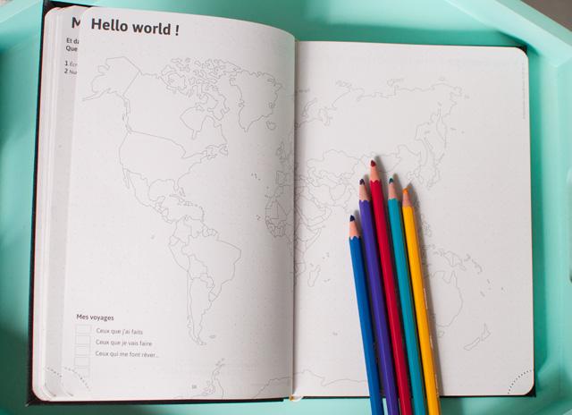 Une carte à colorier avec ses voyages dans mon agenda 2017 2018