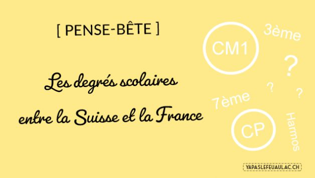 Ecole française vs école suisse: les noms des degrés scolaires