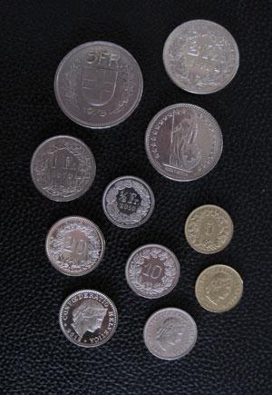 francs suisses pieces