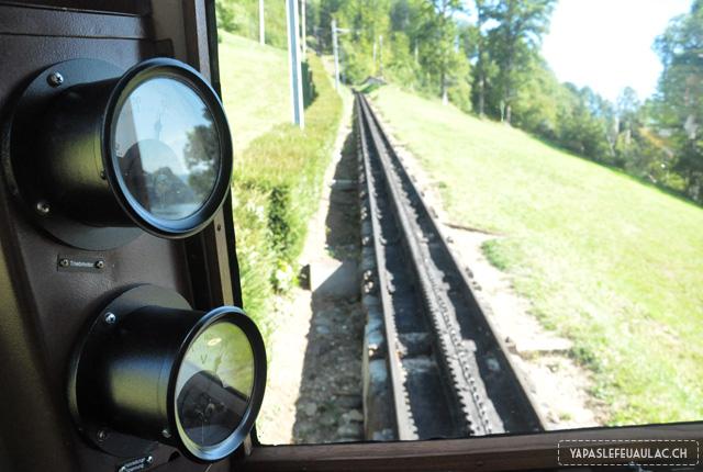 Vue depuis le Pilatus Bahn - ce petit train suisse à crémaillère