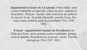 Immobilier: annonces de location en Suisse