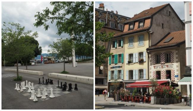 Ouchy jeu échecs et maisons suisses
