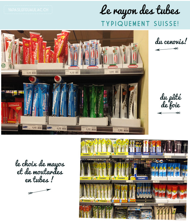 rayon des tubes dans les supermarchés de Suisse