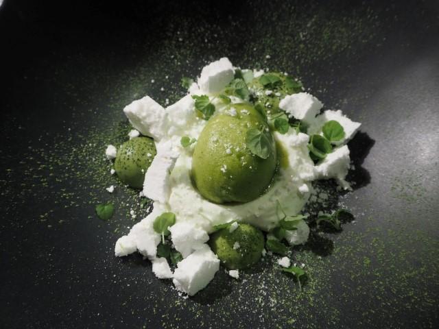 Le dessert au thé matcha - Restaurant gastronomique Alsace le Chatelain au Clos des Délices