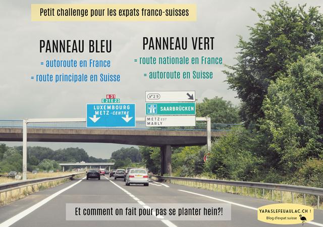 Couleurs des panneaux d'autoroute: une différence entre la Suisse et la France