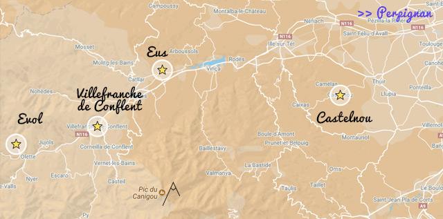 Les plus beaux villages de France des Pyrénées Orientales, itinéraire et distances