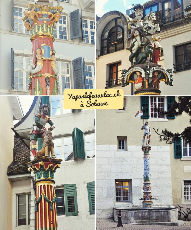 Les sculptures des fontaines de Soleure - Voyage dans les villes de Suisse sur le blog Yapaslefeuaulac.ch