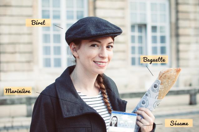 Panoplie pour devenir français: béret+baguette+marinière