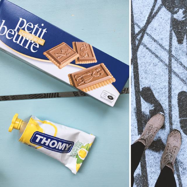 """Premier achat de frontalière! Biscuits au chocolat suisses et moutarde """"suisse"""" Thomy"""