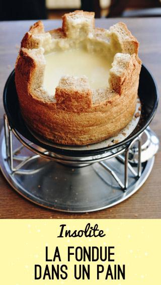 Bonne adresse: manger une fondue dans un pain en Suisse au Val d'Hérens!