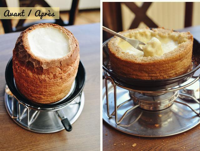 Fondue dans un pain - avant / après! Typiquement suisse