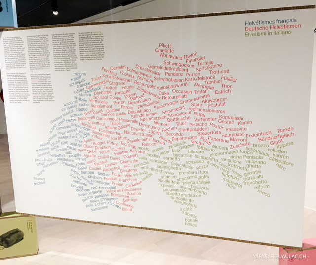 Une carte d'helvétismes lors d'une expo sur les langues suisses au Centre Dürrenmatt