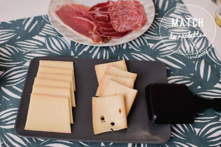 Raclette AOP match comparaison fromages suisse et france