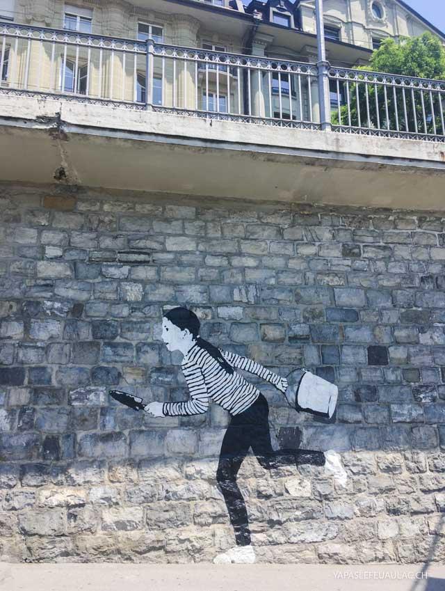 Street art à Lausanne - visiter la ville sur le blog suisse Yapaslefeuaulac
