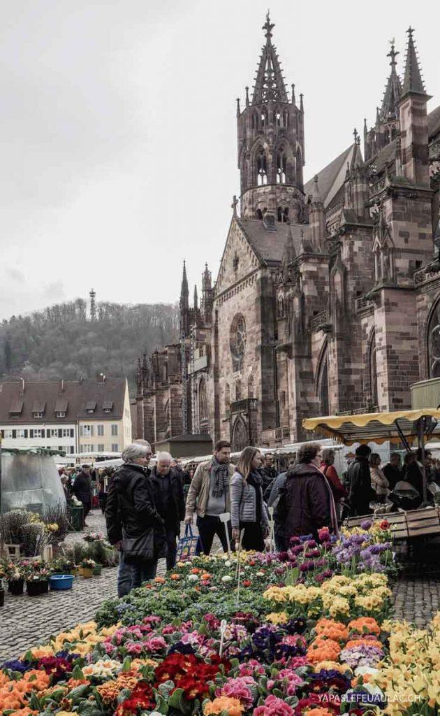 Cathédrale de Freiburg un jour de marché