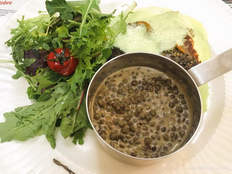 Lentilles vertes du Puy en Velay dans l'assiette